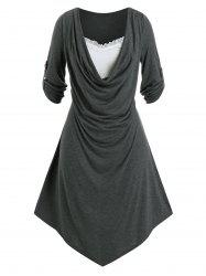 Plus Size Draped Front Roll Tab Sleeve Uneven Hem Dress -