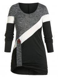 Plus Size Colorblock Stripe Button T-shirt -