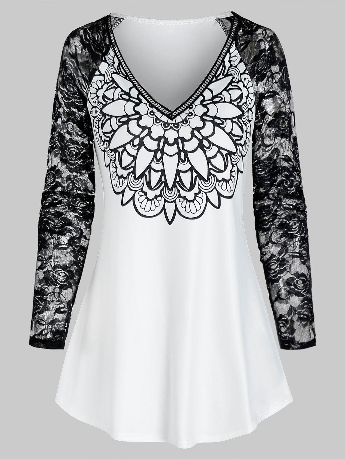 Fashion V Neck Printed Lace Raglan Sleeve T Shirt
