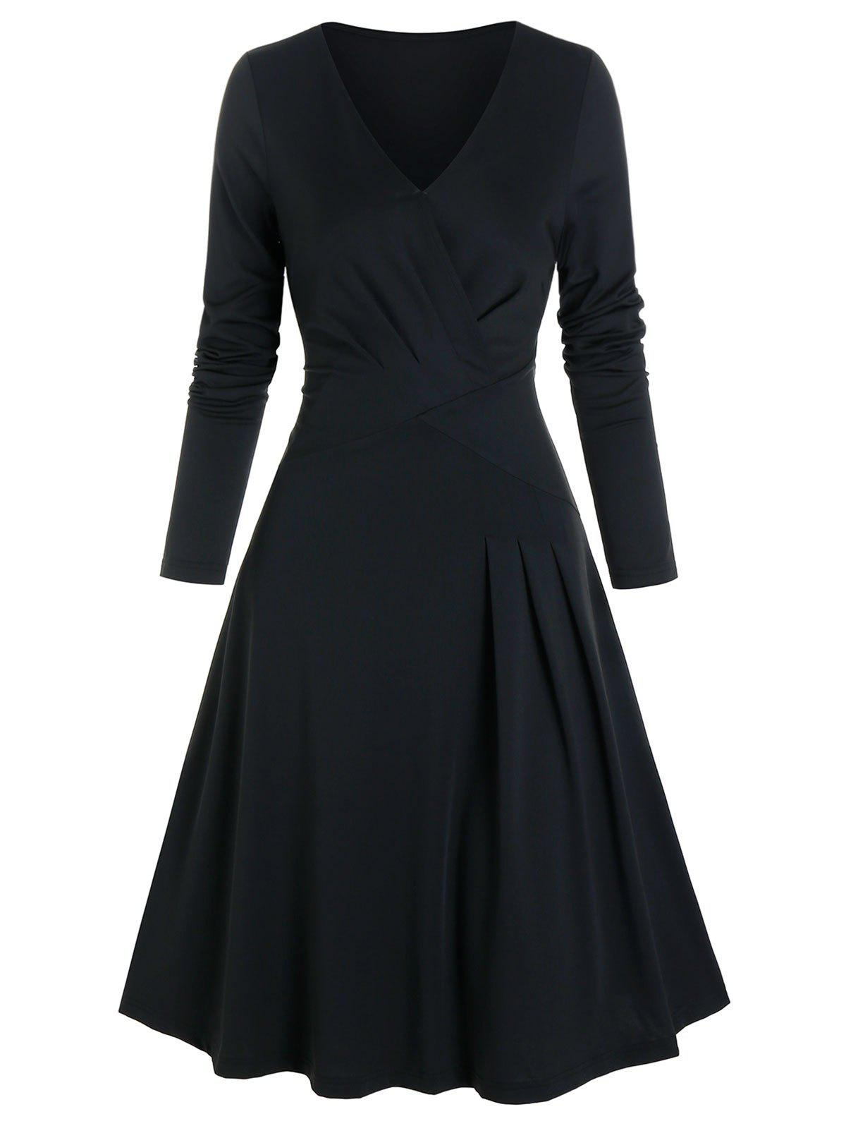 Unique Pleated Wrap Fit And Flare Dress