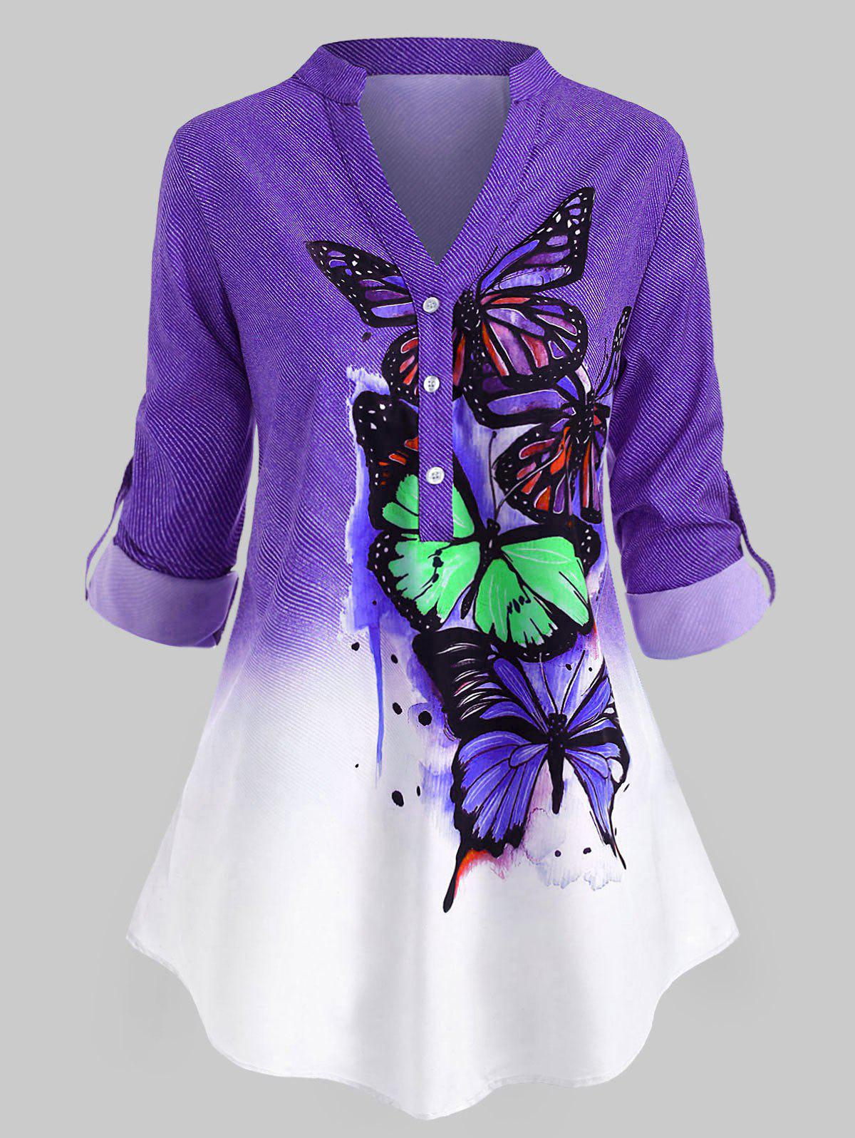 Latest Plus Size Butterfly Print  Roll Up Sleeve Ombre Color Top