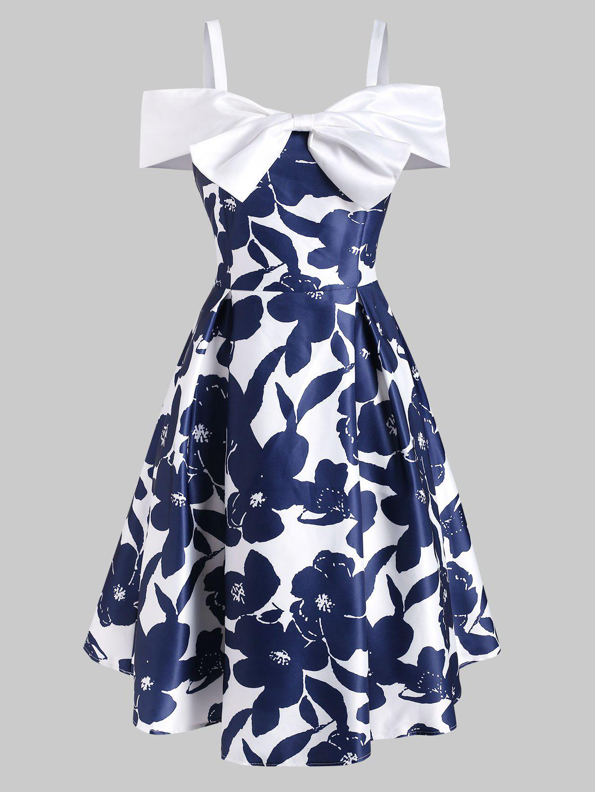 Outfits Foldover Bowknot Cold Shoulder Dress