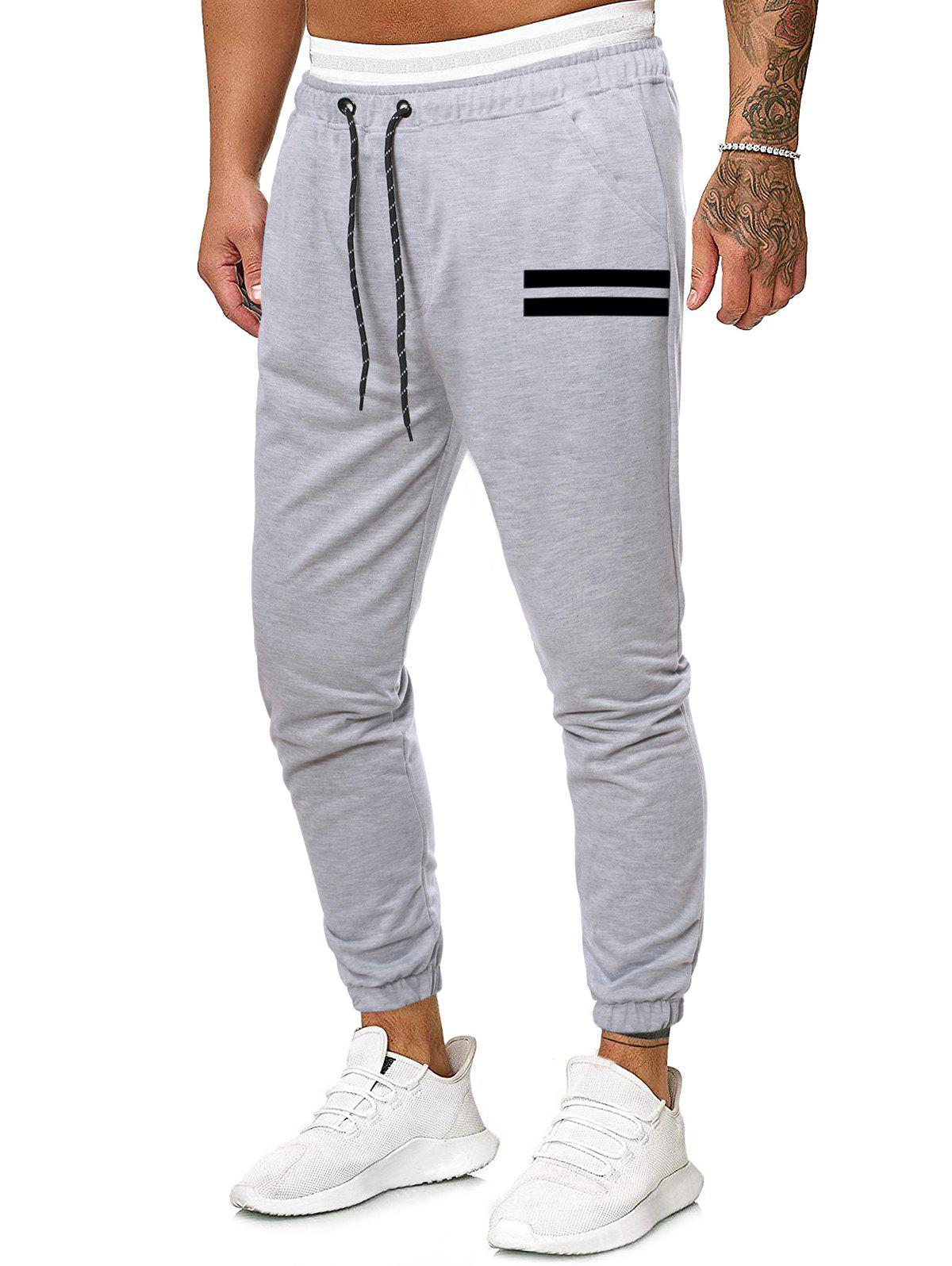 Unique Drawstring Striped Print Tapered Sports Pants