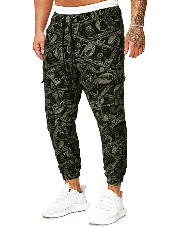 Sale Paper Money Print Drawstring Pencil Pants