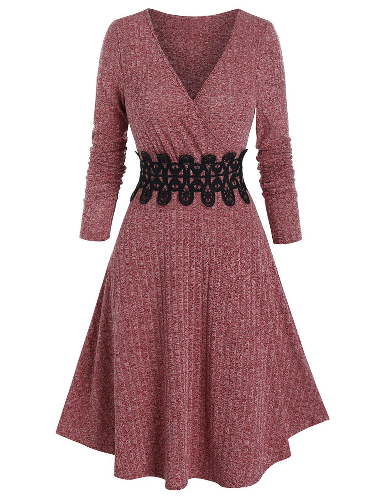 Sale Ribbed Applique A Line Wrap Knitted Dress