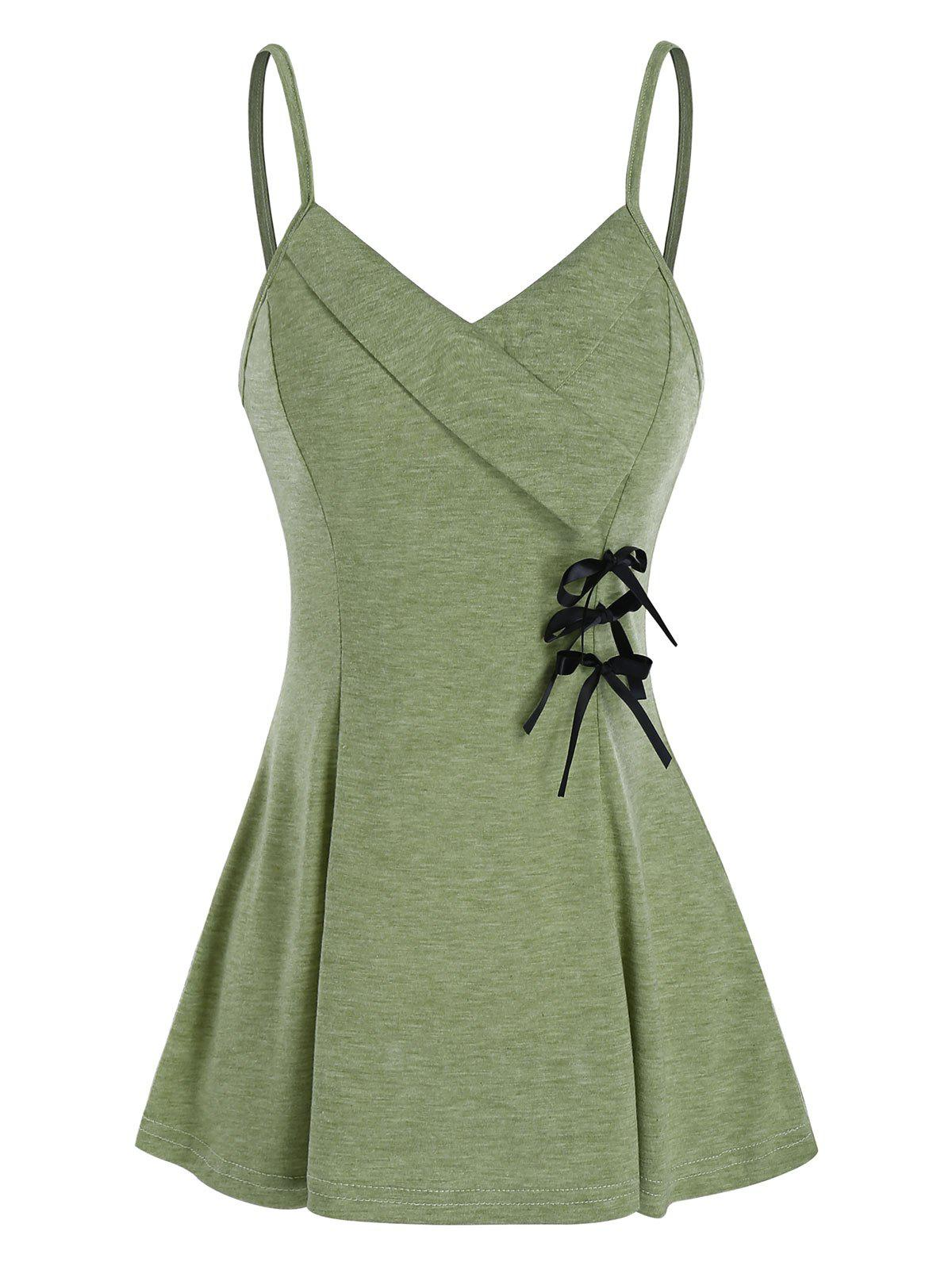 Affordable Bowknot Fit And Flare Slip Tank Top