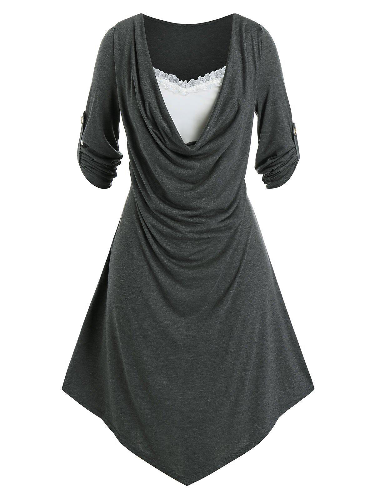 Sale Plus Size Draped Front Roll Tab Sleeve Uneven Hem Dress
