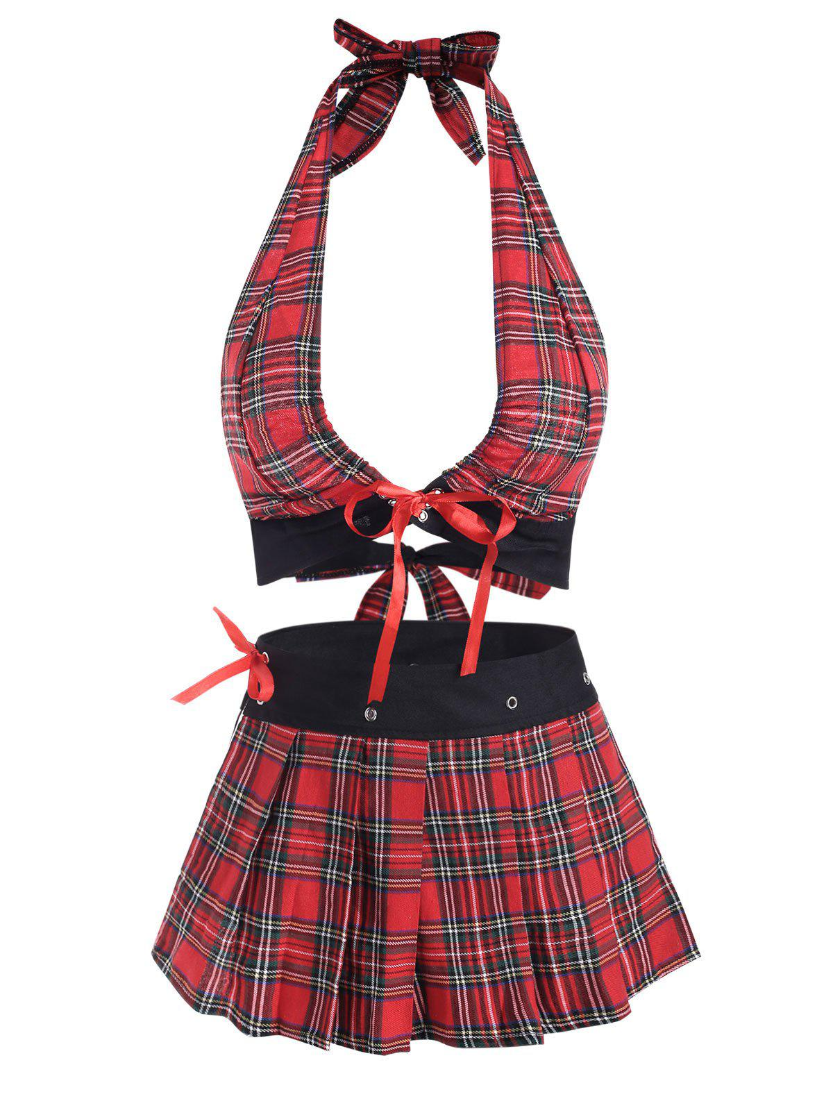 Cheap Tie Back Tartan Plaid Lace Up Plus Size Lingerie Set