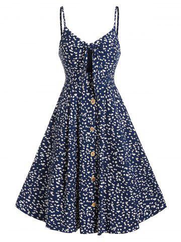 Tiny Floral Print Button Through Knotted Dress
