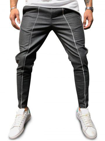 Contrast Piped Casual Pencil Pants