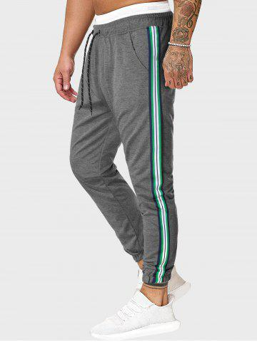 Drawstring Side Striped Tapered Sports Pants
