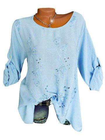 Plus Size Flower Embroidered Roll Tab Sleeve Tunic Blouse - LIGHT BLUE - 4X