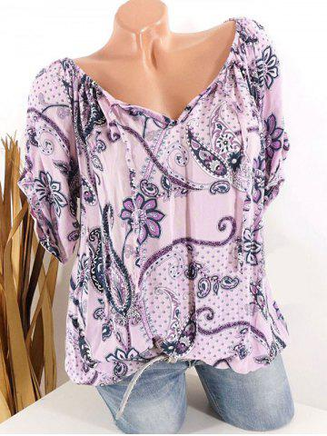 Plus Size Paisley Floral Print Tied Tops - LIGHT PINK - 2XL
