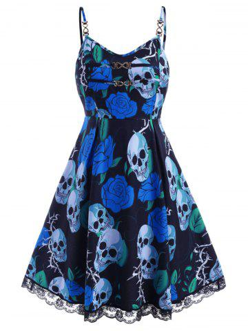 Chains Lace Trim Rose Skull Halloween Plus Size Dress - BLUE - 3X