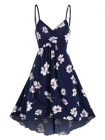Floral Print Ruched Cami A Line Dress