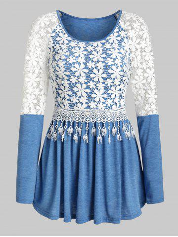 Embroidery Flower Fringe Pleated Top - SILK BLUE - M