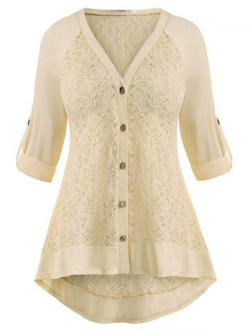 Raglan Sleeve Lace Panel Button Up Plus Size Top - LIGHT YELLOW - L