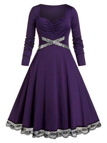 Plus Size Lace Insert Sequined Ruched Midi Dress