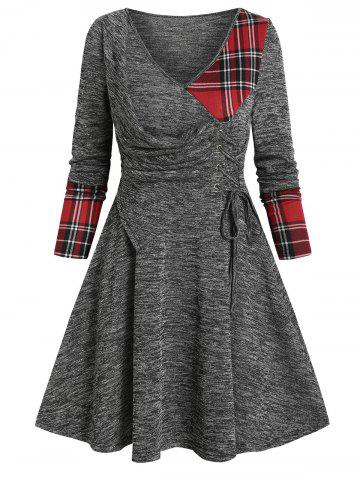 V Neck Plaid Panel Lace Up Long Sleeve Dress - GRAY - 3XL