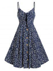 Tiny Floral Print Button Through Knotted Dress -