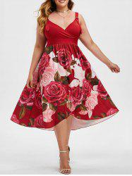 Overlap Rose Buckle Straps Surplice Plus Size Dress -