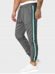 Drawstring Side Striped Tapered Sports Pants -