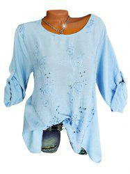 Plus Size Flower Embroidered Roll Tab Sleeve Tunic Blouse -