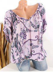 Plus Size Paisley Floral Print Tied Tops -