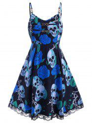 Chains Lace Trim Rose Skull Halloween Plus Size Dress -