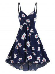 Floral Print Ruched Cami A Line Dress -