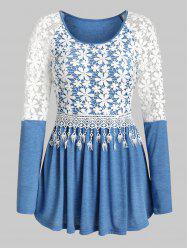 Embroidery Flower Fringe Pleated Top -