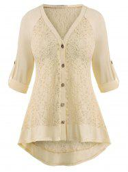 Raglan Sleeve Lace Panel Button Up Plus Size Top -