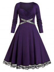 Plus Size Lace Insert Sequined Ruched Midi Dress -
