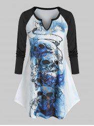 Plus Size Skull Graphic Notched Collar Ralgan Sleeve T Shirt -