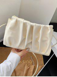Pleated Solid Rectangle Crossbody Bag -