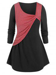 Plus Size Front Twist Two Tone T Shirt -
