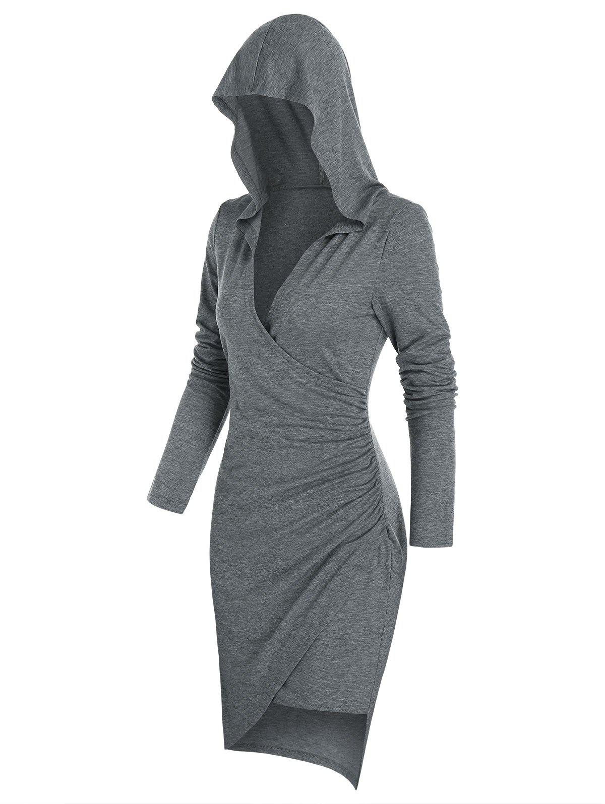 Outfits Long Sleeve Hooded Heathered Surplice Dress