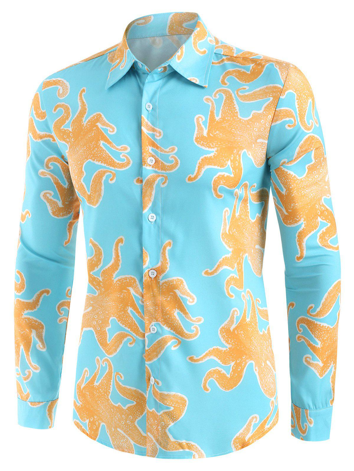 Latest Funny Octopus Print Button Up Casual Shirt