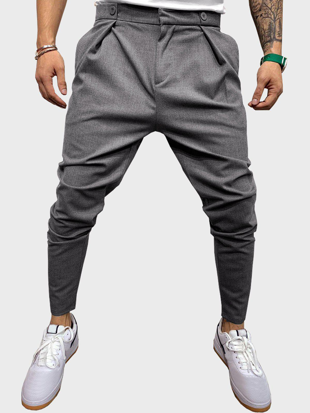 Unique Button Detail Casual Tapered Pants