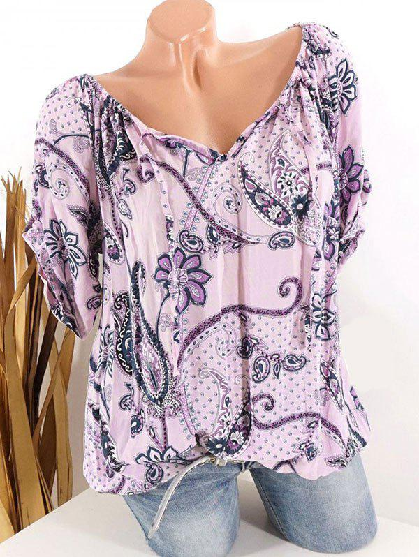 Discount Plus Size Paisley Floral Print Tied Tops