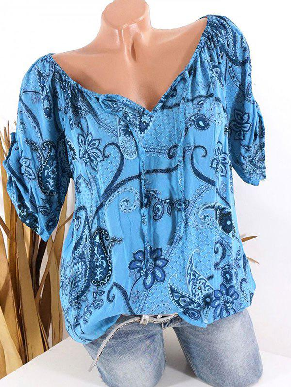 Plus Size Paisley Floral Print Tied Tops фото