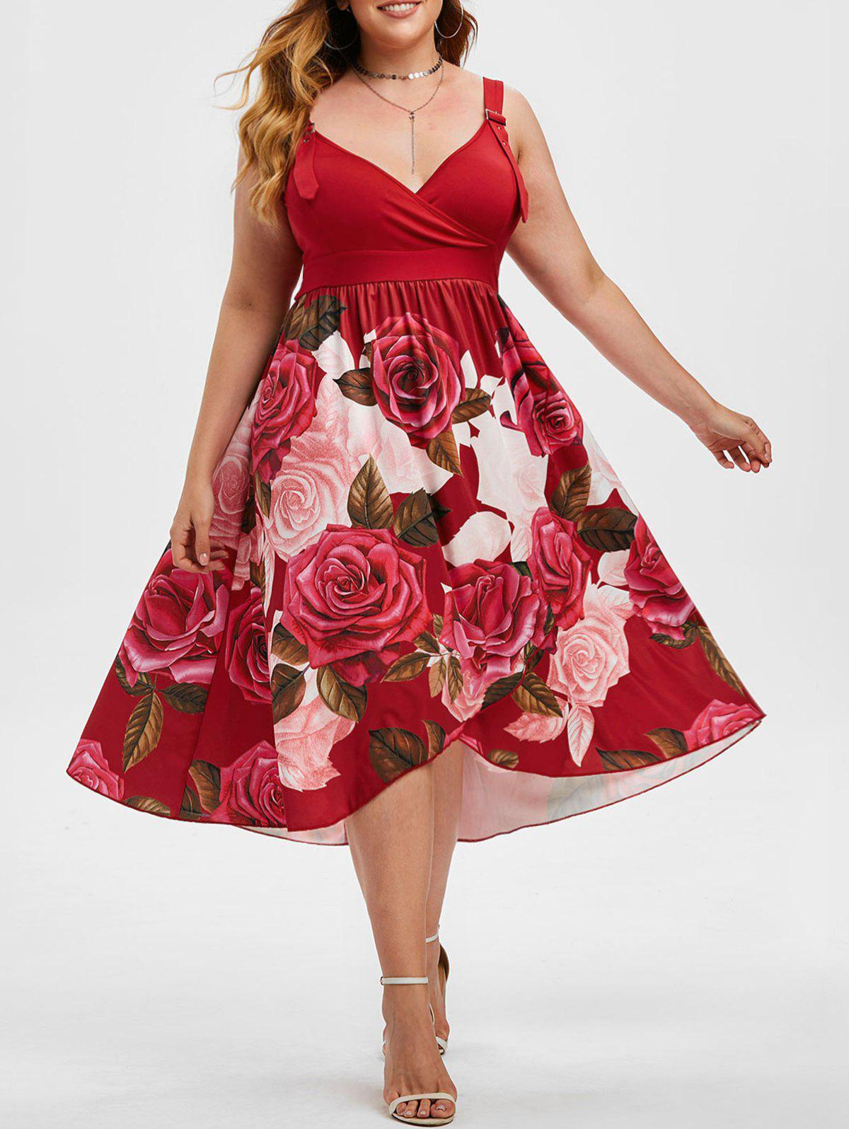 Fashion Overlap Rose Buckle Straps Surplice Plus Size Dress