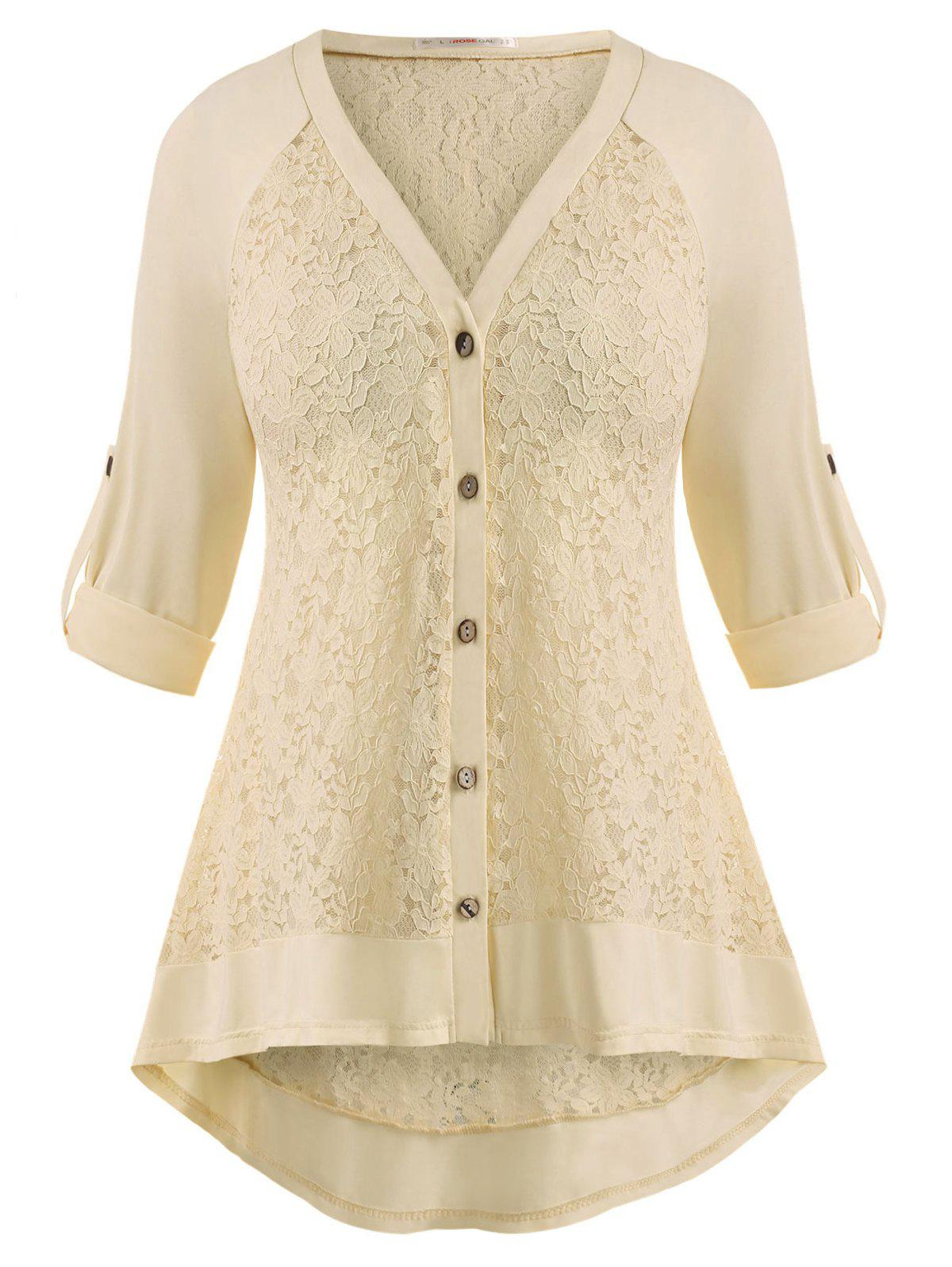 Fancy Raglan Sleeve Lace Panel Button Up Plus Size Top