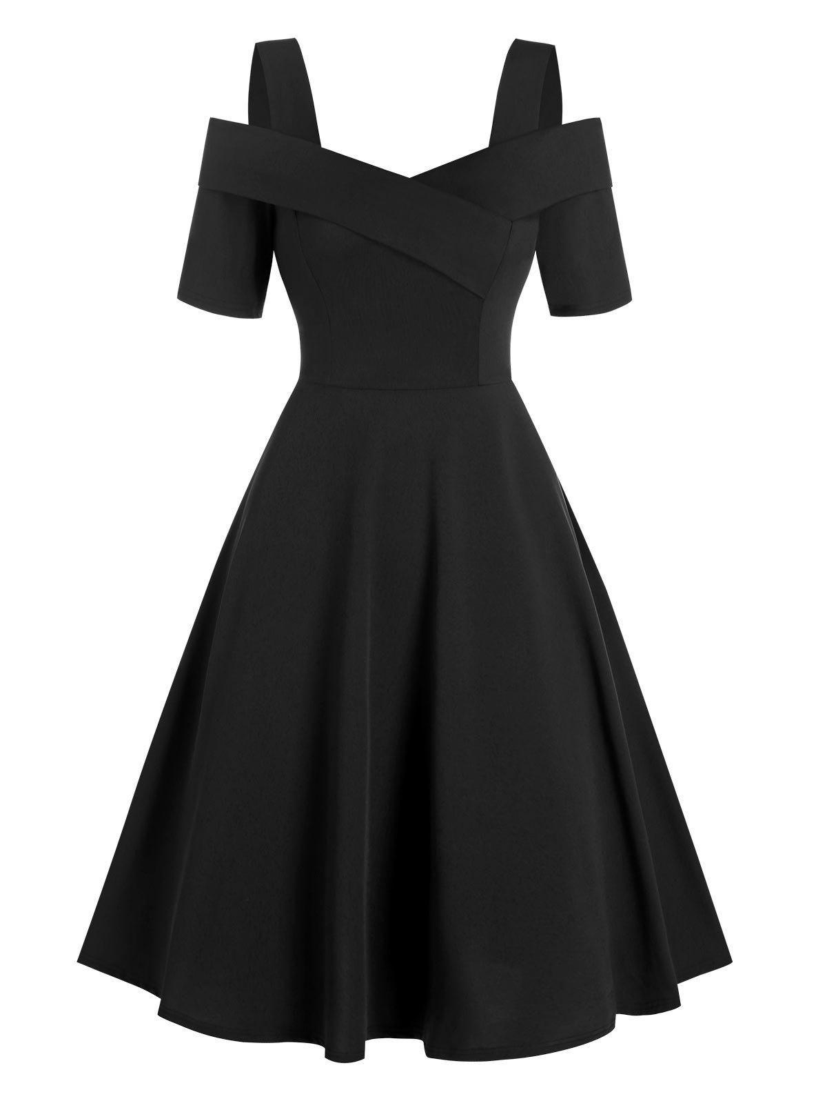 New Cold Shoulder Asymmetric High Waist Dress
