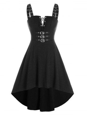Lace Up Buckled Knitted Cami High Low Dress