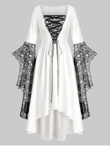 Plus Size Halloween Skull Lace Bell Sleeve Maxi Party Dress - WHITE - L