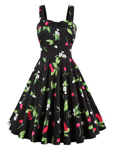 Cherry Print Waist Tie Sleeveless Dress