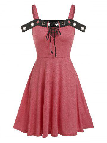 Grommet Detail Cold Shoulder Lace-up Heathered Dress - LIGHT CORAL - 3XL