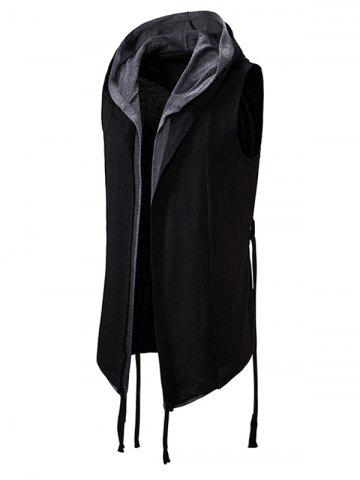 Belted 2 in 1 Open Front Gothic Hooded Vest - BLACK - 2XL