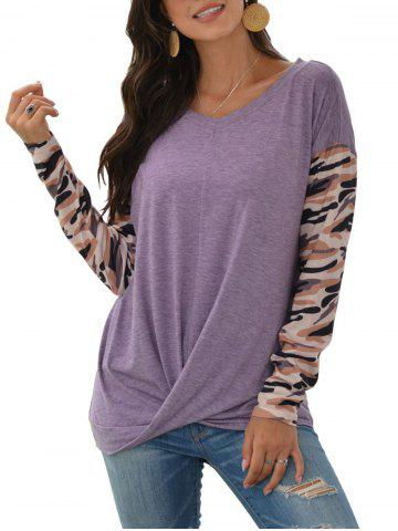 Camo Panel Drop Shoulder Twisted T-shirt - LIGHT PURPLE - S